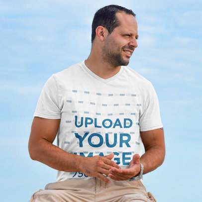 V-Neck T-Shirt Featuring a Man and a Blue Sky in the Background m2430-r-el2