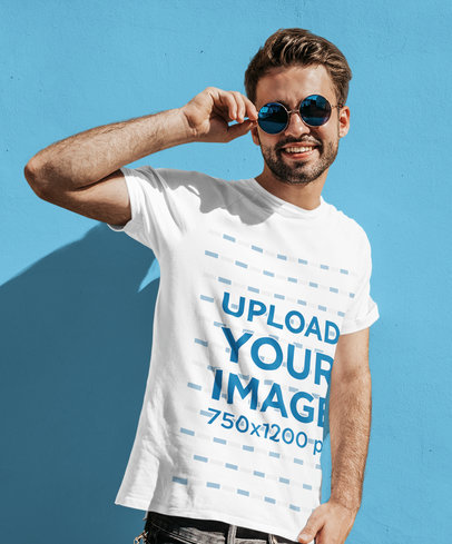 Mockup of a Bearded Young Man Wearing a T-Shirt and Cool Shades M1512-r-el2