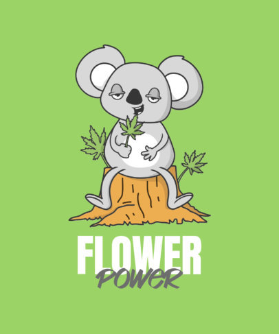 Cartoonish T-Shirt Design Maker Featuring a Koala Eating Marijuana Leafs 3677e-el1