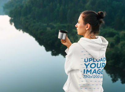 Back View Mockup of a Woman Wearing a Hoodie by a Lake 45637-r-el2