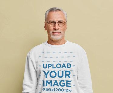 Crewneck Sweatshirt Mockup of a Senior Man With Glasses m3454-r-el2