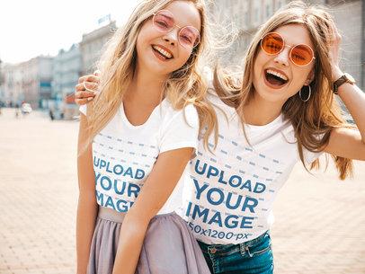 T-Shirt Mockup Featuring Two Young Women Having Fun m2461-r-el2