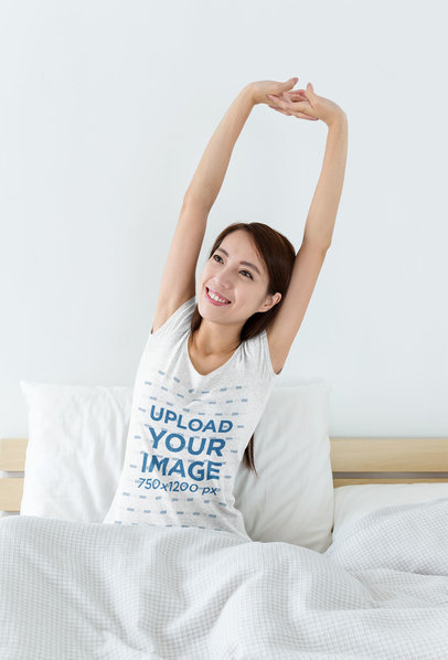 Heathered Tee Mockup of a Woman Stretching on Her Bed m2536-r-el2