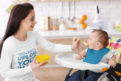 Long-Sleeve Tee Mockup Featuring a Mother and Her Baby at Lunchtime 40745-r-el2