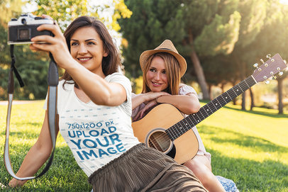 V-Neck Tee Mockup of Two Friends Taking a Selfie with a Vintage Camera 43734-r-el2