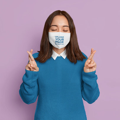 Face Mask Mockup Featuring a Woman Crossing Her Fingers m3480-r-el2