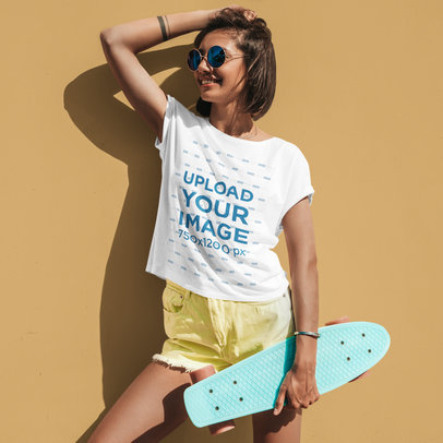 Round-Neck Tee Mockup Featuring a Female Skater with Sunglasses M1614-r-el2
