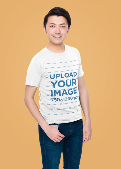 Basic T-Shirt Mockup Featuring a Happy Man Posing Against a Colored Wall m2329-r-el2