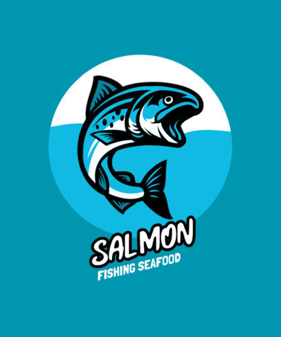 T-Shirt Design Template with an Illustrated Salmon Graphic 3667a-el1