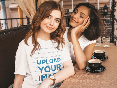 Unisex T-Shirt Mockup of a Young Woman Having a Coffee with a Friend 1727-r-el2