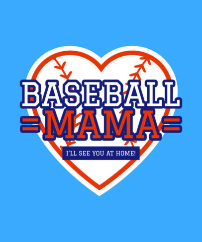 T-Shirt Design Template for Baseball Moms Featuring a Heart Icon 3515b