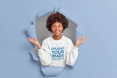 Sweatshirt Mockup of a Relieved Woman Coming Through the Wall m3435-r-el2