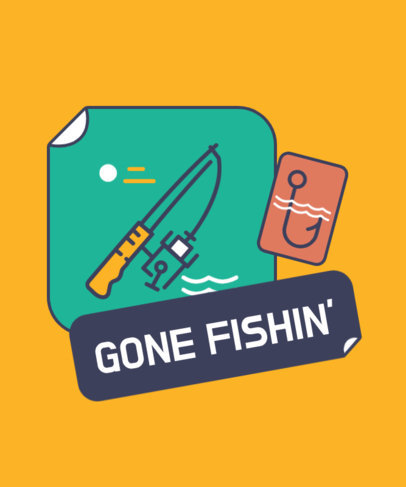 T-Shirt Design Template Featuring a Fishing Rod Icon 3673a-el1