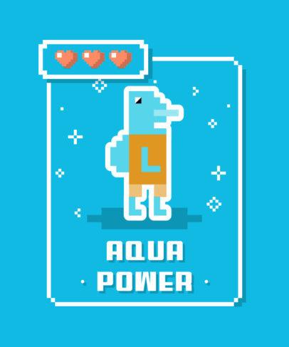 Pixel-Art T-Shirt Design Creator with a Graphic of an Aquatic Creature 3717b-el1