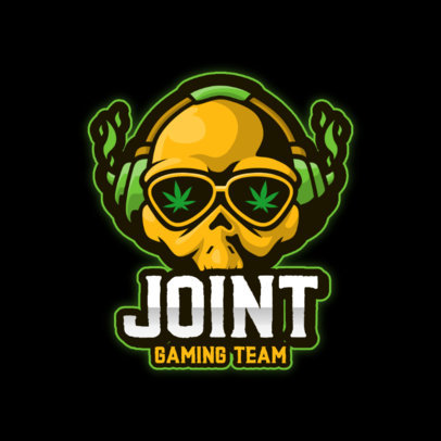 Gaming Logo Creator with a Marijuana-Themed Skull Graphic 3711f-el1