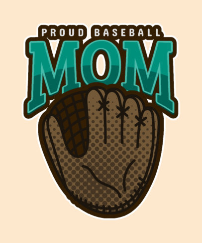 T-Shirt Design Template for Baseball Moms Featuring a Glove Clipart 3517j