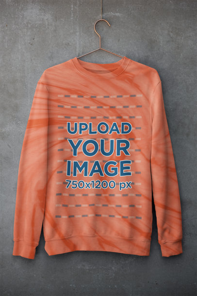Mockup of a Tie-Dye Sweatshirt Hanging on a Wall m4125