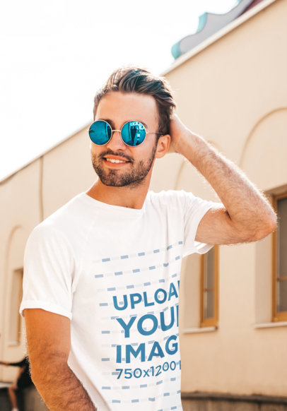 Round-Neck T-Shirt Mockup of a Young Man with Sunglasses at an Old City M2462-r-el2