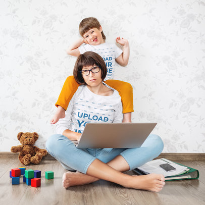T-Shirt Mockup of a Woman and Her Son Hanging Together 46234-r-el2