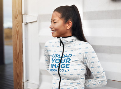 Mockup of a Smiling Woman Wearing a Heathered Full-Zip Hoodie 41130-r-el2