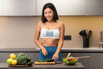 Sports Bra Mockup of a Woman Preparing a Healthy Meal m3540-r-el2