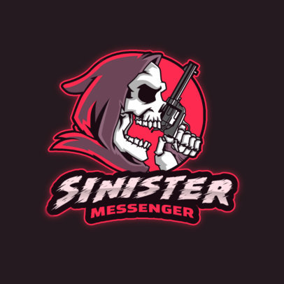 Gaming Logo Maker Featuring an Eerie Reaper with a Gun 4190i