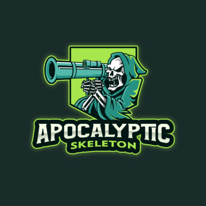 Gaming Logo Maker Featuring a Maniac Reaper with a Bazooka 4190l