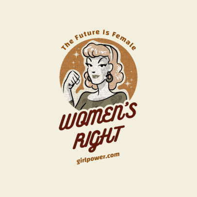 Retro Logo Template Featuring an Empowered Woman Graphic 4178d