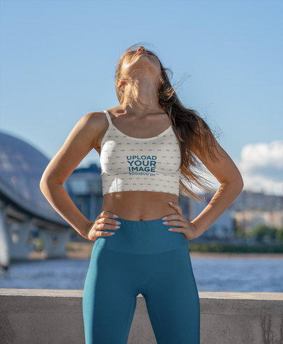 Sports Bra Mockup of a Woman Standing by a River m3688-r-el2
