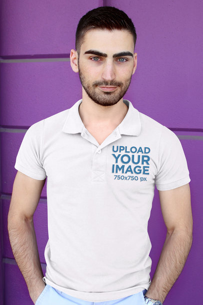 Mockup of a Blue-Eyed Man Wearing a Polo Shirt 45609-r-el2