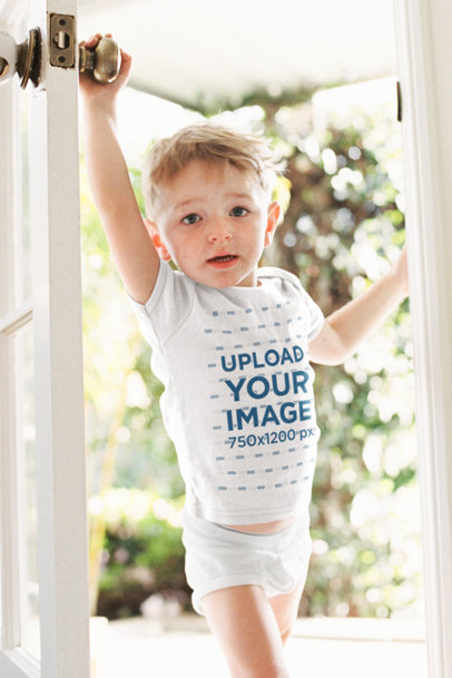 T-Shirt Mockup Featuring a Little Boy by the Front Door 39431-r-el2