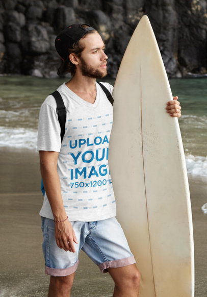 V-Neck Tee Mockup Featuring a Bearded Man With a Surfboard m2808r-el2