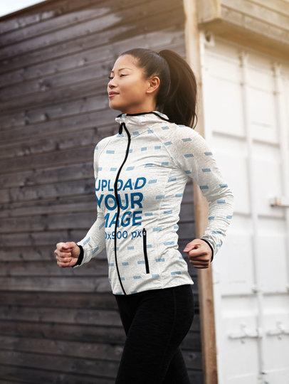 Sublimated Full-Zip Hoodie Mockup of a Woman Jogging 41138-r-el2