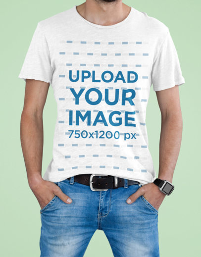 T-Shirt Mockup Featuring a Man Doing a Simple Pose in a Studio m2962-r-el2
