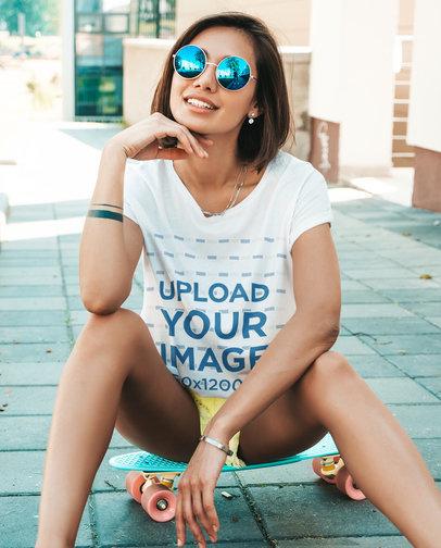 T-Shirt Mockup of a Cool Young Woman Wearing Blue Sunglasses M2459-r-el2