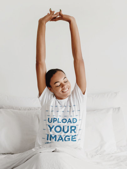 Pajamas Mockup of a Woman Wearing a Unisex T-Shirt m3035-r-el2