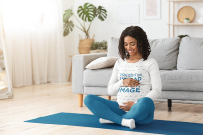 Long Sleeve Tee Mockup of a Pregnant Woman Doing Yoga at Home 40747-r-el2