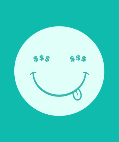 T-Shirt Design Template Featuring a Smiling Face with Dollar Sign Eyes 3537a