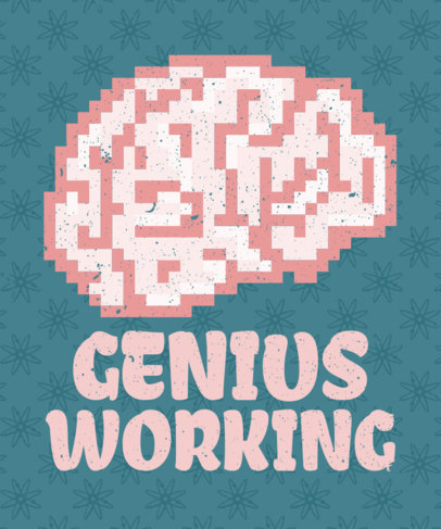 T-Shirt Design Template Featuring an 8-Bit Brain Clipart 28c