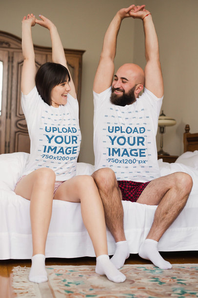 T-Shirt Mockup of a Couple Stretching in the Morning m3031-r-el2