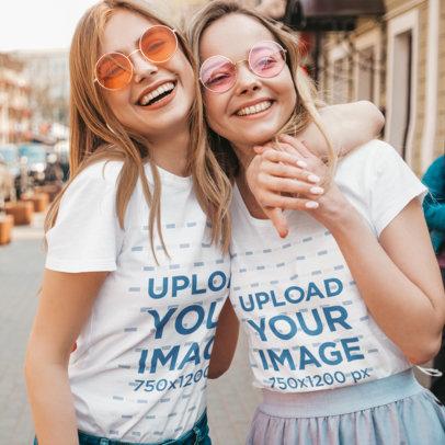 T-Shirt Mockup Featuring Two Happy Female Friends m1596-r-el2