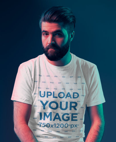 Basic T-Shirt Mockup of a Serious Bearded Man Posing Against a Dark Wall 45850-r-el2