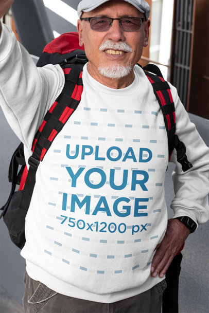 Selfie Mockup Featuring an Elderly Man with a Sweatshirt 32879a