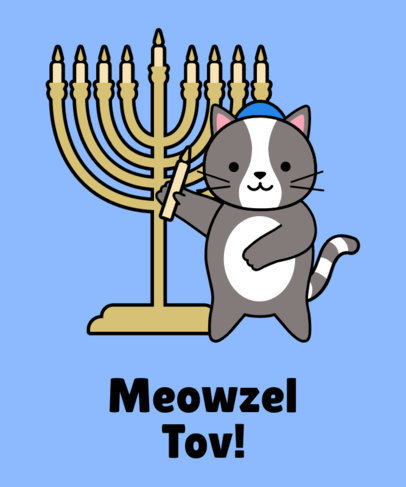 Illustrated T-Shirt Design Template Featuring a Cat Celebrating Hanukkah 24e