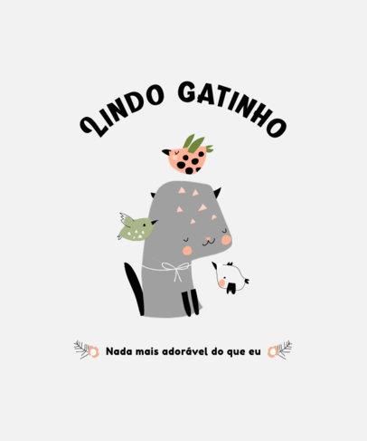 Cats T-Shirt Design Template Featuring a Text in Portuguese 3740b-el1