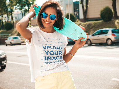T-Shirt Mockup of a Short-Haired Woman Enjoying a Sunny Day M1507-r-el2