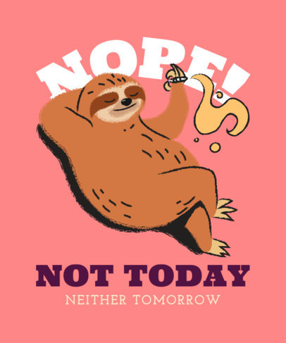 Illustrated T-Shirt Design Maker Featuring a Sloth Smoking 3542f