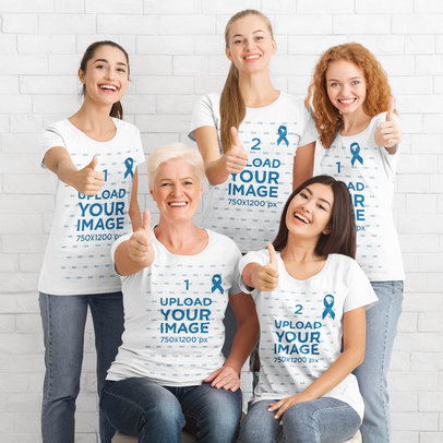 T-Shirt Mockup Featuring a Group of Women Advocating for Cancer Awareness m3422-r-el2