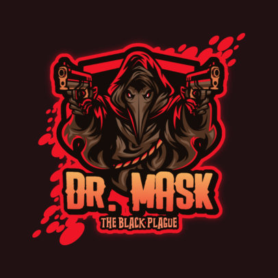 Gaming Logo Maker Featuring a Graphic of a Plague Doctor with Guns 4197a