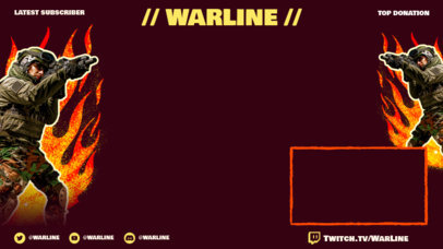 Twitch Overlay Maker with an Armed Solider and Flame Graphics 3535a